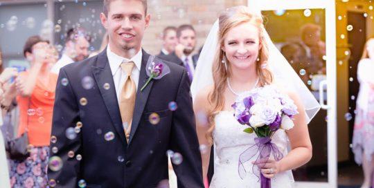 wedding photo brittany derrick bubbles