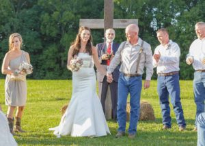 rustic wedding just married