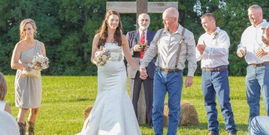 rustic wedding just married