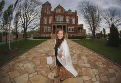 Senior Faith Cap and Gown Fayetteville Courthouse