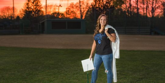senior cap gown faith sunset softball