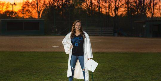 Senior Faith Cap and Gown Sunset Field
