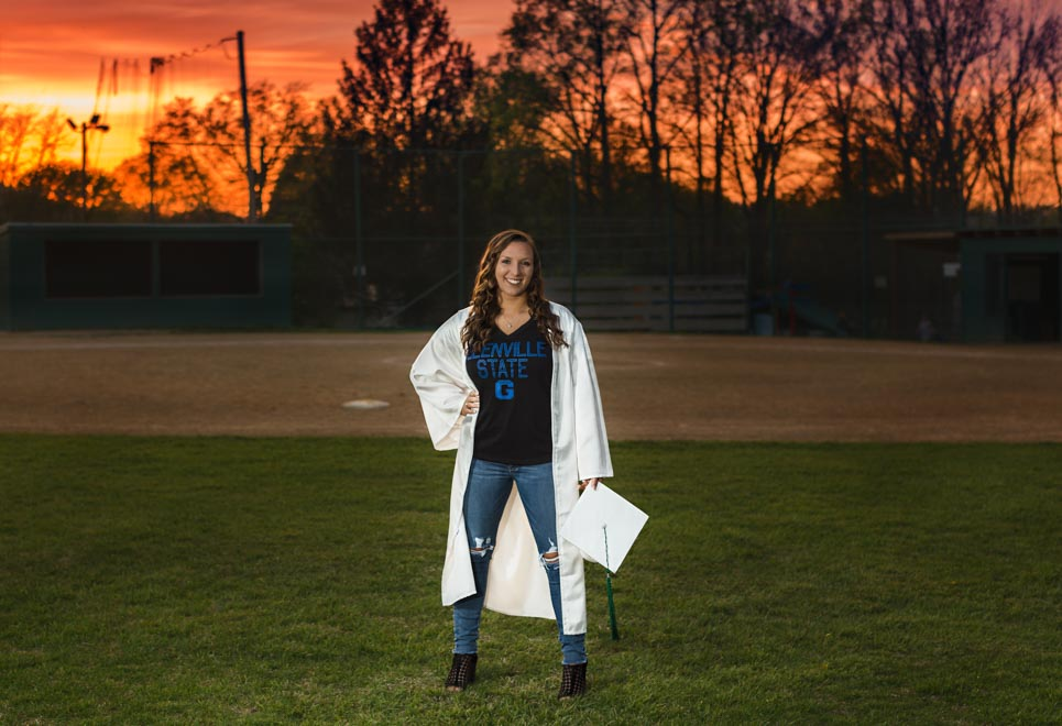 Senior Faith Cap and Gown Sunset Field