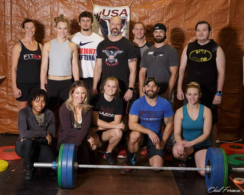 Camaraderie in the competitive spirit. The Halloween Havoc olympic weightlifting meet contestants.