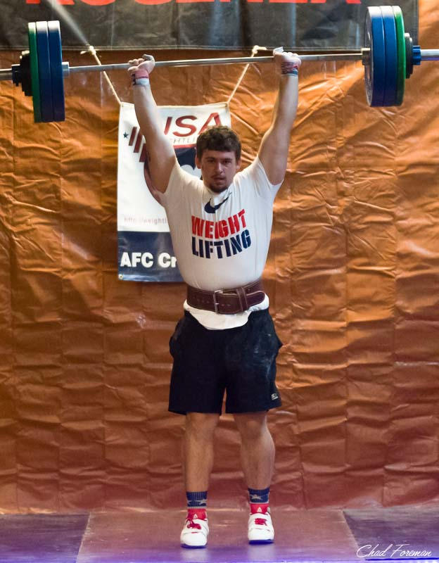 Seth Gunnoe lifted more weight than anyone. Here he is with 300 pounds above his head.