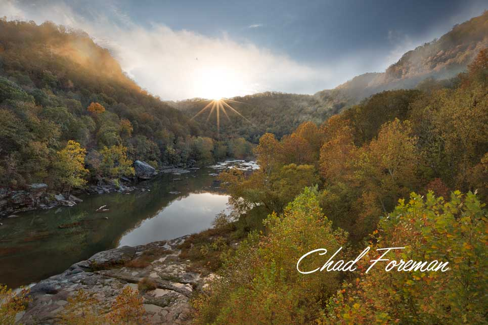 New River Gorge Autumn Leaves Sunset over the Dries