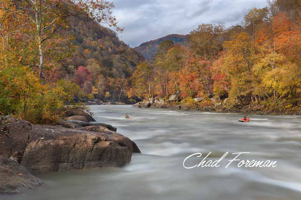 New River Gorge Autumn Leaves Photography whitewater rapid kayak and raft