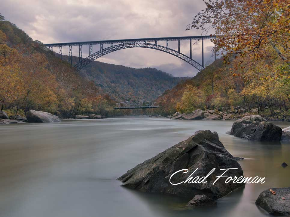New River Gorge Bridge Autumn Leaves Photography by Chad Foreman