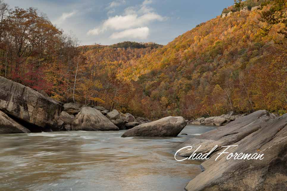 New River Gorge Autumn Leaves Whitewater Frog Rock Photography by Chad Foreman
