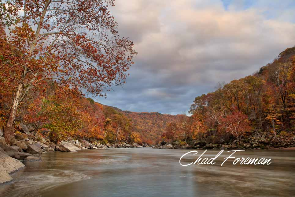 New River Gorge Whitewater Autumn Leaves Photography by Chad Foreman