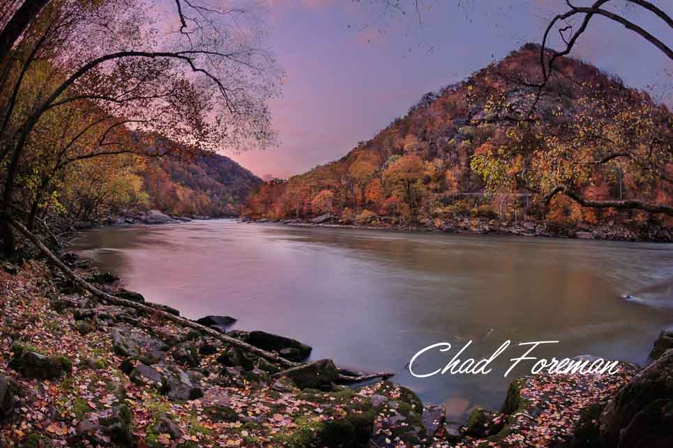 New River Gorge Twilight Autumn Leaves Photography by Chad Foreman