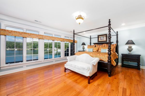 architecture photography lake house bedroom