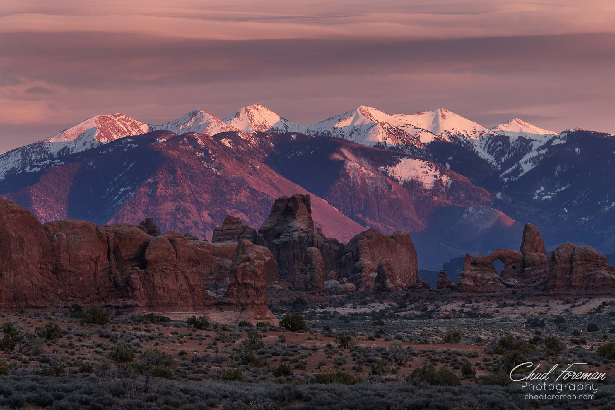 landscape photography san juan mountains from Arches National Park