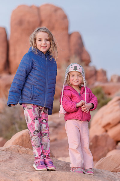 Sweet niecelings, Isla and Iris at Arches national Park