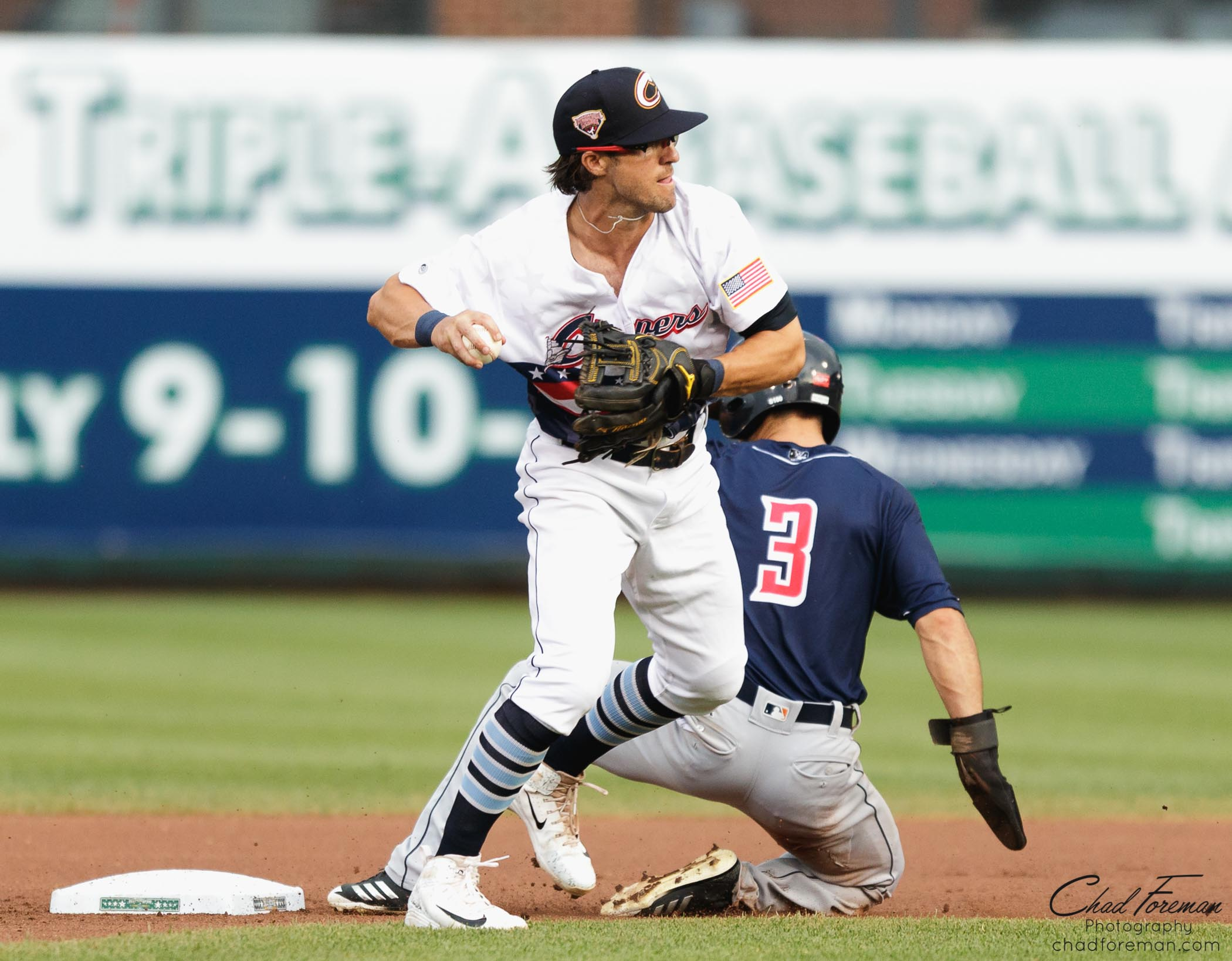 sports photography baseball double play Columbus Clippers