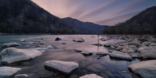long exposure thurmond wv sunrise