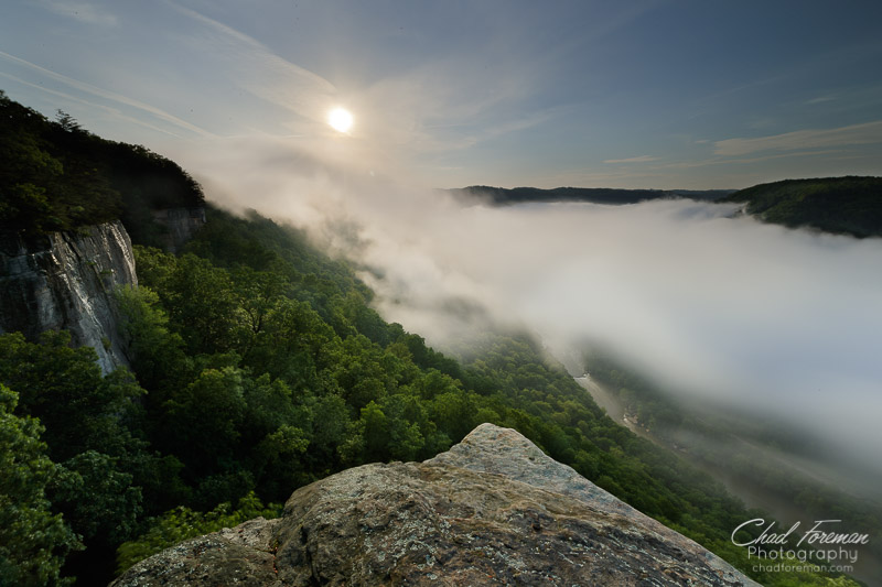 Clouds move downstream in the New River Gorge